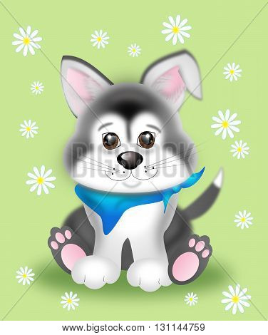 Illustration of cute sitting siberian husky puppy with flowers on green background
