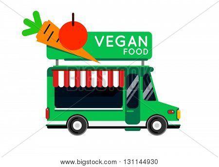 Vegan Food Truck City Car. Vegan Food Hipster Truck, Auto Cafe, Mobile Kitchen, Hot Fastfood, Vegeta