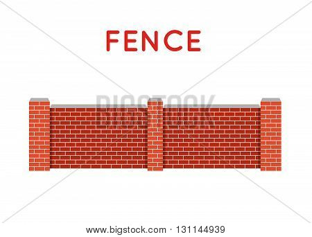 Vector Fence Illustration. Farm Fence. Fence With Border. Building Fence. Fence Element. Flat Fence