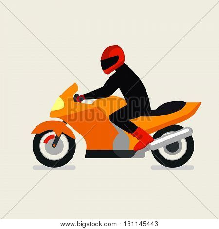 Motorcyclist On A Motorcycle Vector Illustration. Vector Motorbike. Motorbike Festival. Motorbike Ra