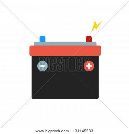 Car battery isolated vector icon. Car battery repair parts. Electric car battery. Car battery charger. Car service..