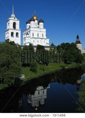 Trinity Cathedral In Pskov Kremlin.