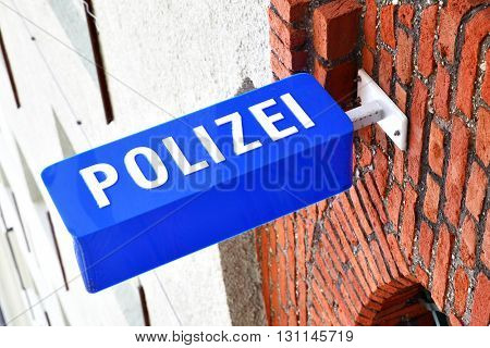 Police stantion sign in Munich, Germany