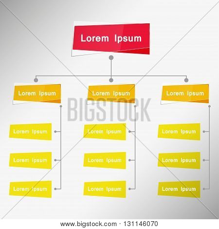 Color Card Organizational Chart Infographic Multiple Color Business Structure Concept Business Flowchart Work Process Vector Illustration.