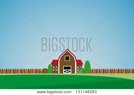 Green landscape with lonely house and trees