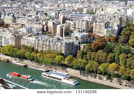 A panoramic view of Paris from the Eiffel Tower - France