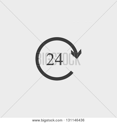 24 hours icon in a flat design in black color. Vector illustration eps10
