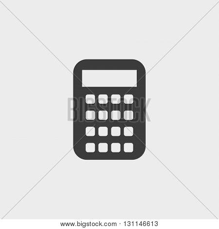 Calculator icon in a flat design in black color. Vector illustration eps10