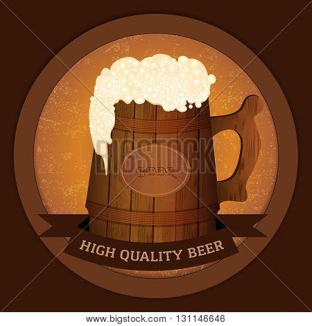 Wooden beer mug in vintage style - high quality beer concept. Vector illustration.