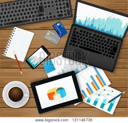 Finance analytic, accounting or businessmen workplace.Top view - laptop with financial graph on screen, tablet, documents, coffee cup, smartphone, credit cards, notepad and pencils .Vector illustration.