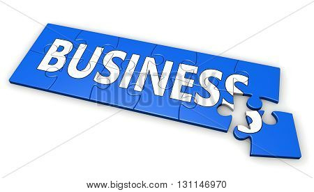 Building a new business concept with business sign and word on a blue jigsaw puzzle 3D illustration isolated on white background.