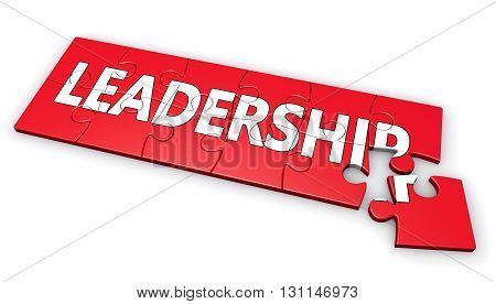 Business leadership development concept with leadership sign and word on a red puzzle 3D illustration isolated on white background.