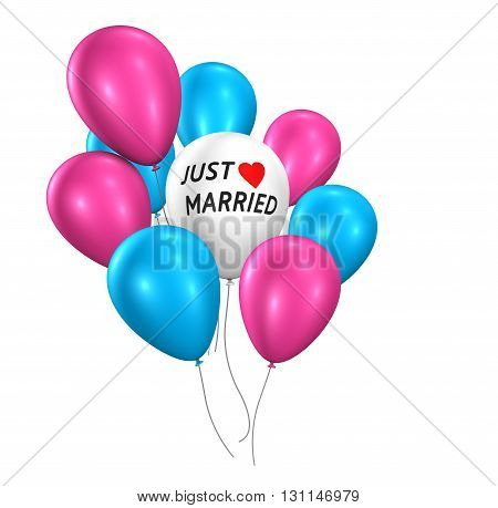 Wedding day party and ceremony concept with just married sign and wedding balloons 3d illustration isolated on white background.