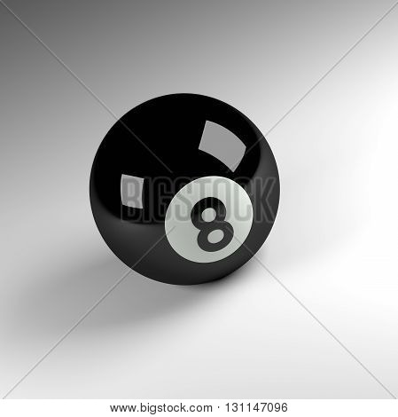3d render of an eight ball pool ball sports concept image.