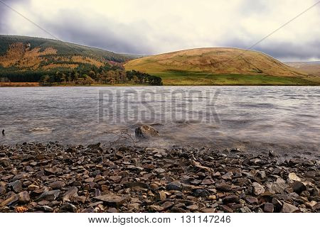 St Mary's Loch, Scotland with mountain backdrop