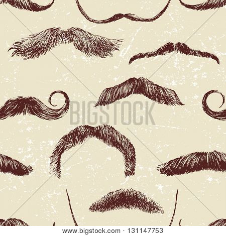 Hand drawn seamless pattern with mustaches