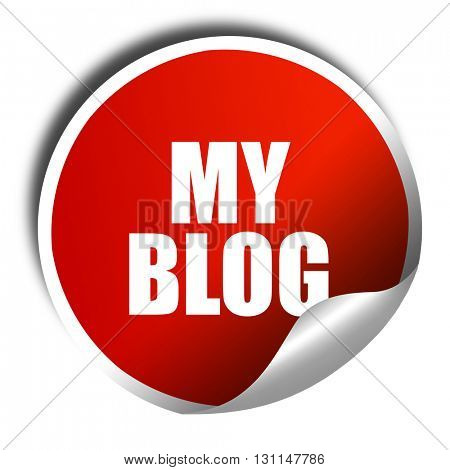 my blog, 3D rendering, red sticker with white text