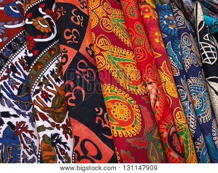 Collection of colorful typical traditional handmade fabrics in a market Kathmandu Nepal