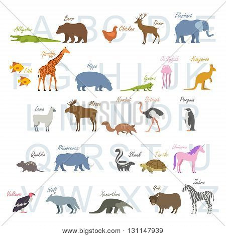 Animal alphabet poster for children. Animal silhouettes with names and letters inside