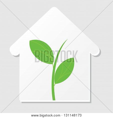 Home silhouette icon with green sprout. Vector illustrtaion