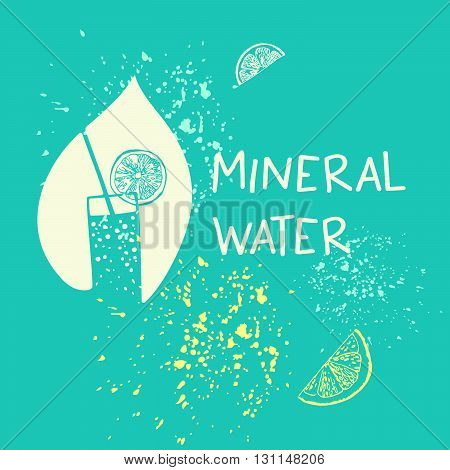 Vector Logo Mineral Water With White Drop On Blue Background.