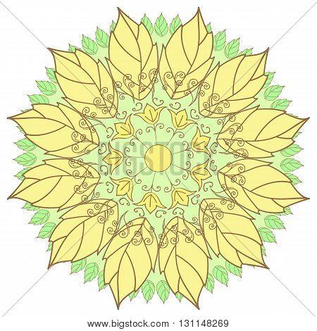 Vector Beautiful Contour Flower, Floral Design Element