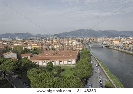 Aerial view of Pisa and the Arno river