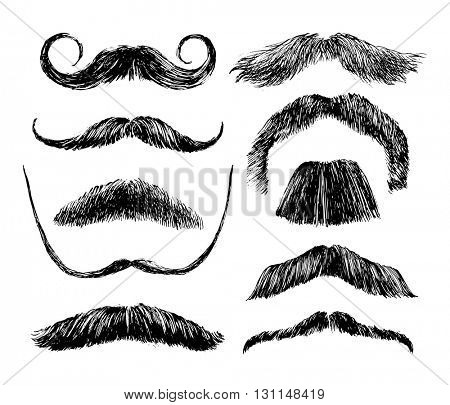 Hand drawn black and white mustache set