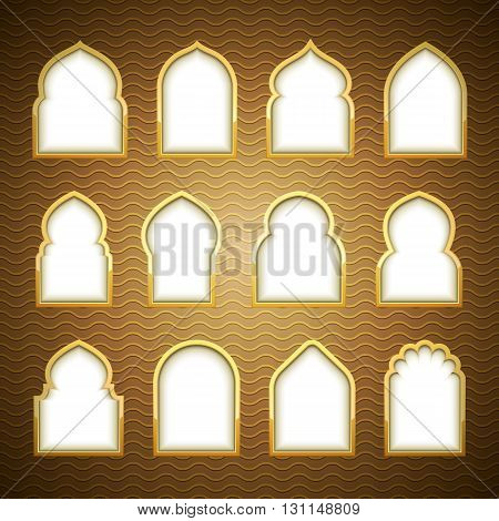 Gold Design Arab windows for Ramadan Kareem Template
