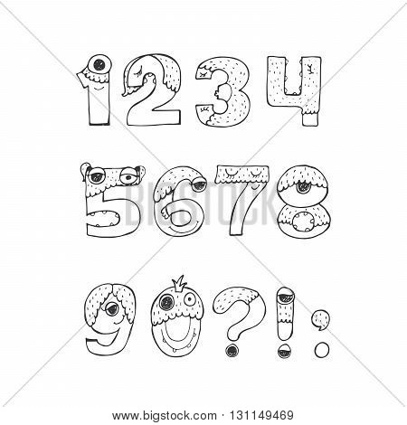 Vector set of fun funky monster digits from 1 to 0 with punctuation marks hand drawn black and white isolated on white. Good for lettering or font design headers t-shirts kids illustration.
