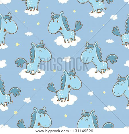 Seamless pattern with cute cartoon horses and clouds in sky on  blue background. Funny animals. Vector image. Children's illustration.
