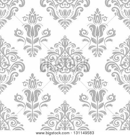 Oriental vector classic light silver pattern. Seamless abstract background with repeating elements