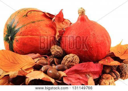 Autumn Pumpkins And Leaves