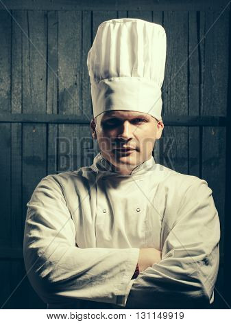 A Male Chef Over Grey Background