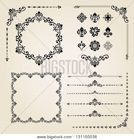Vintage set of elements. Different vector elements for decoration and design frames, cards, menus, backgrounds and monogram. Collection of floral ornaments