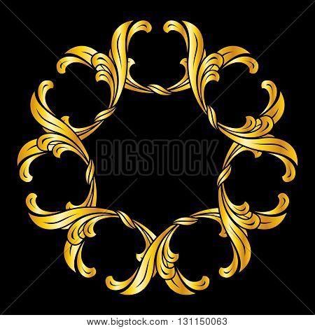 Floral pattern in golden shades. Illustration on black background