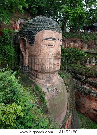 The 71M Tall Giant Buddha (dafo), Carved Out Of The Mountain In The 8Th Century Ce In Leshan, Sichua