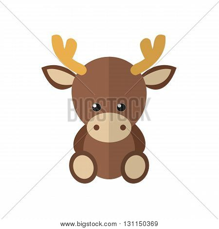vector illustration of a moose in a flat style. Moose cartoon icon.