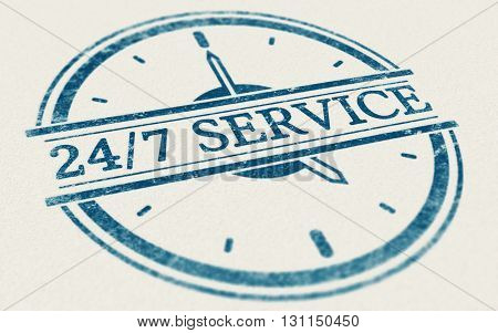 3D illustration of a rubber stamp mark over paper background. Concept of nonstop service or online support open everyday