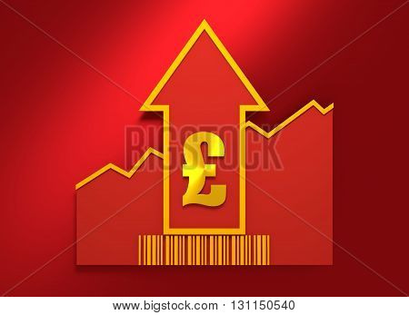 Pound sign and rise up arrow. Growth diagram and bar code. Relative for retail business. 3D rendering