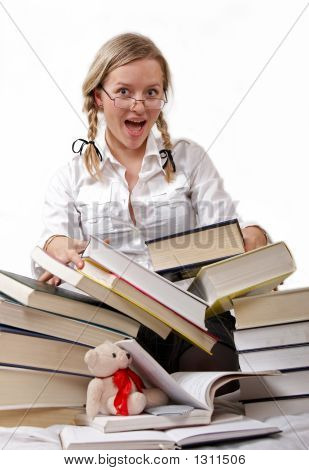 Schoolgirl Or Student And Rolling-Over Books