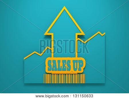 Sales up text and rise up arrow. Growth diagram and bar code. Relative for retail business. 3D rendering