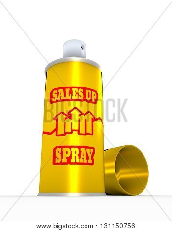 Growing graph on spray bottle label. Sales up text. 3D rendering