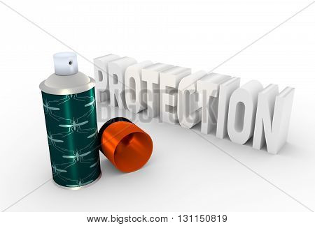 Illustration of anti-mosquito spray with cap over white background. 3D rendering. Metallic painting label.