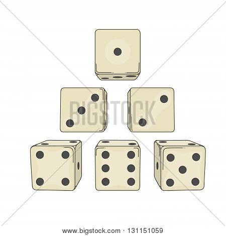Six colored cartoon-style dice cubes on white background