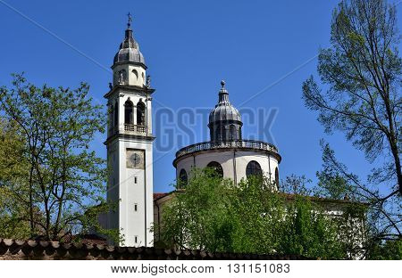Belfry and dome of Santa Maria in Araceli baroque church in Vicenza