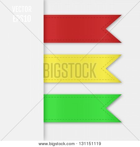 Set of isolated ribbons. Web bookmarks for you text. Vector illustration
