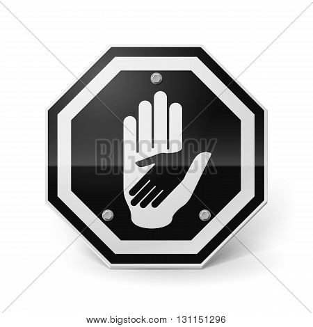 Black-and-white shiny metal sign with helping hand image