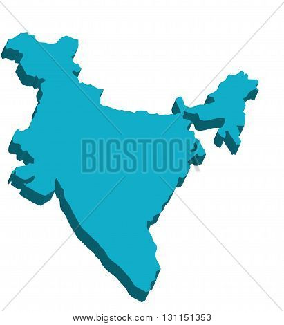 A map of India 3D on white background