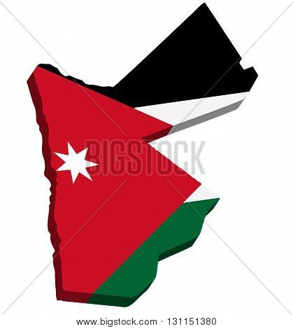 A map of Jordan 3D with flag on white background